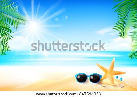 starfish flower palm leaf sand