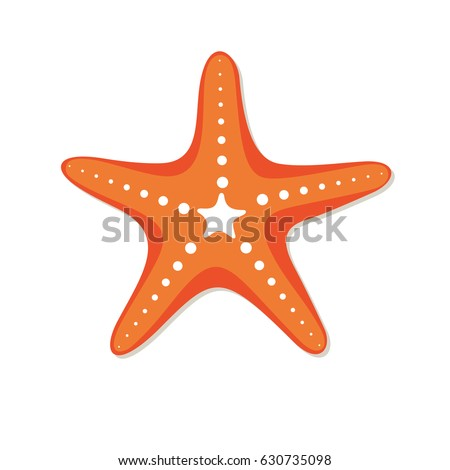 Starfish in flat style. Marine icon in cartoon style. Summer vector illustration.