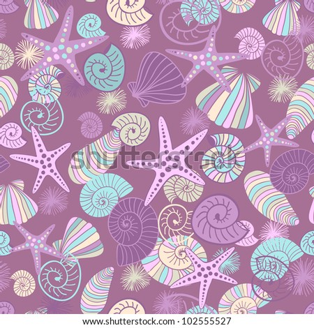 Starfishes and seashells  hand drawn vector seamless pattern  in lilac and pink tones - stock vector