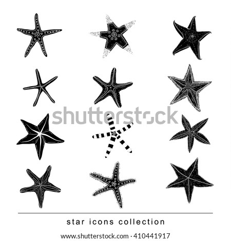 starfishes set hand drawn