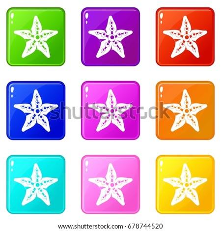starfishicons of 9 color set