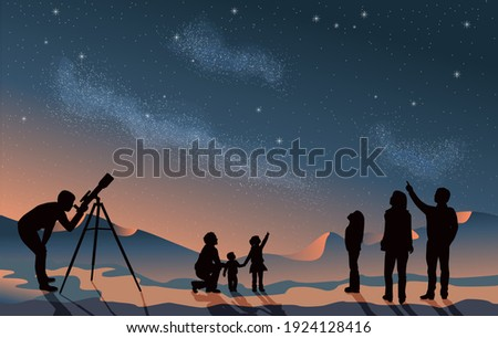Stargazing looking at dark night sky stars. A group of people family and friends with man woman and children with telescope in silhouette. Looking at milky way astronomy concept vector grouped layered