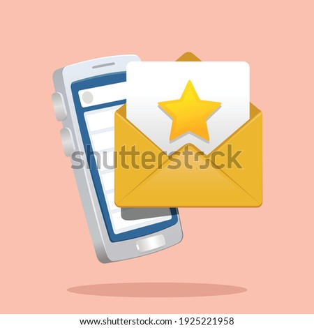 starred email in frot of smart phone. favuorite email marked icon vector illustration Foto stock ©