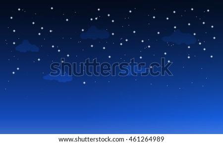 starry dark sky with clouds