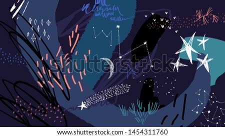 starry earth space scene vector