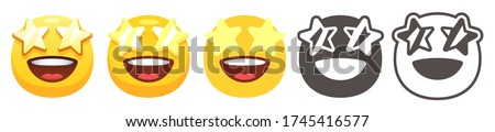 Starry eyed emoji. Excited yellow face with open smile and golden stars for eyes. Star-struck emoticon, wow flat vector icon set