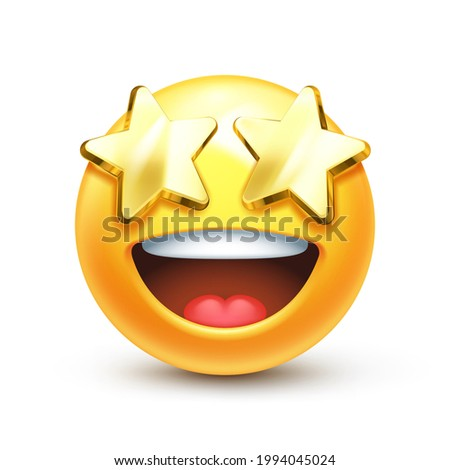 Starry eyed emoji. Golden stars for eyes excited emoticon with open smile 3D stylized vector icon