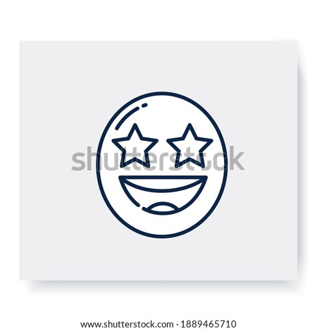 Starry eyes face line icon. Excited grinning face, wow emoticon. Facial expression emoji. Isolated vector illustration. Editable stroke  Stock photo ©