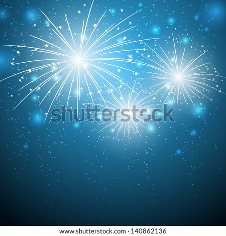 starry fireworks on blue