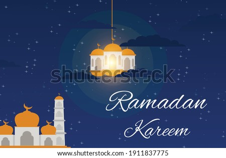 Starry night background design during the month of Ramadan
