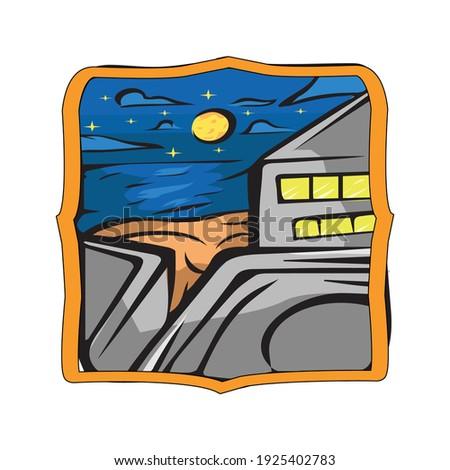 starry night beach badge vector