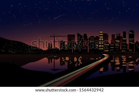 starry night in city with