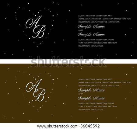 stock vector Starry Night Invitation Panels