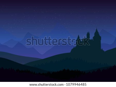 starry night over old castle