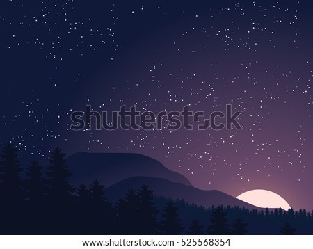 starry night sky sunset  dawn