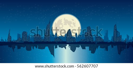 starry sky over night city and