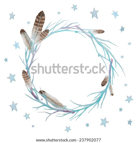 Stars and feathers wreath. Watercolor winter branches wreath with feathers and stars. Hand drawn vector frame