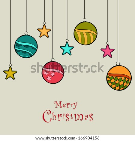 stars and hanging Christmas balls for Merry Christmas Festival holiday card Background Design.Eps10