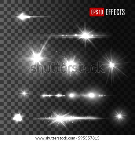 Stars and light flashes vector effects on transparent background with sparkling sun beams. Isolated set of glitter shine blurs and space sparks or luminous rays and starry glowing particles