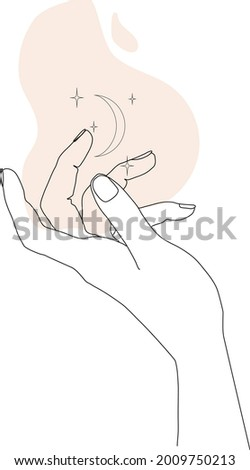 Stars and moon in the hand. Line art concept of magic symbol. Linear mystical hand with abstract shape. Hand drawn esoteric element. Vector illustration on white background