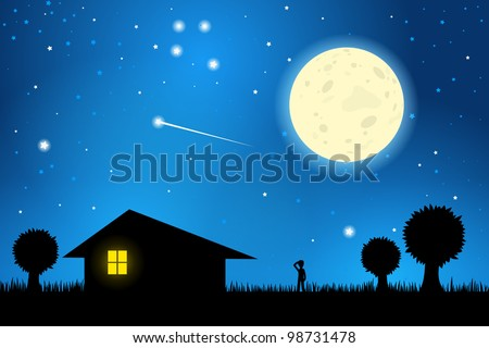 Stars and Moon in the Night Sky, EPS10 Vector