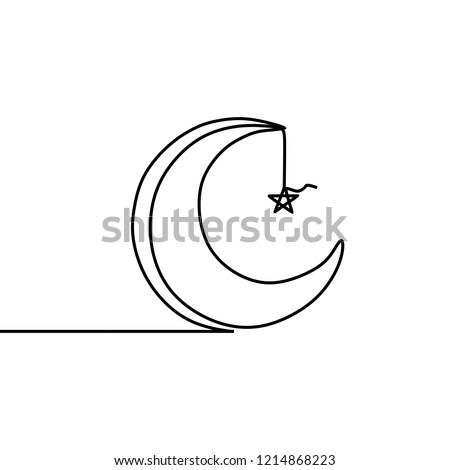 Stars and moon islamic design with continuous single line art drawing.