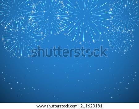 Shutterstock Stars and shiny fireworks on blue background, illustration.