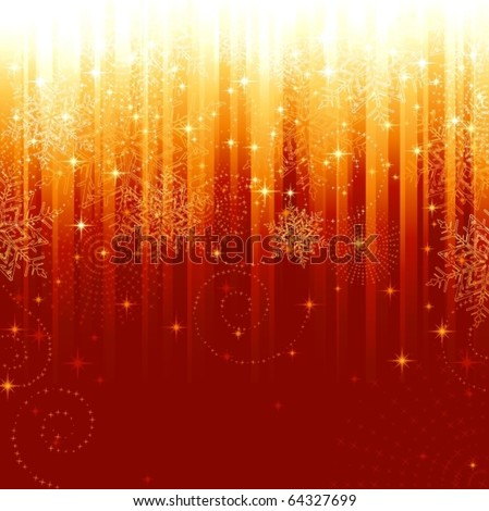 Stars and snowflakes on red golden striped background. Festive pattern great for festive or christmas themes.