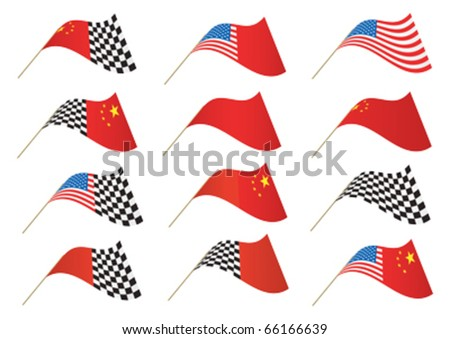 Stars and Stripes, Chinese and Checkered Flag, editable illustration Vector. Re-sizeable to any size.  Re-sizeable to any size.