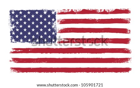 "Stars and stripes. Grunge version of American flag with 50 stars and ""old glory"" original colors. Vector, EPS 10."