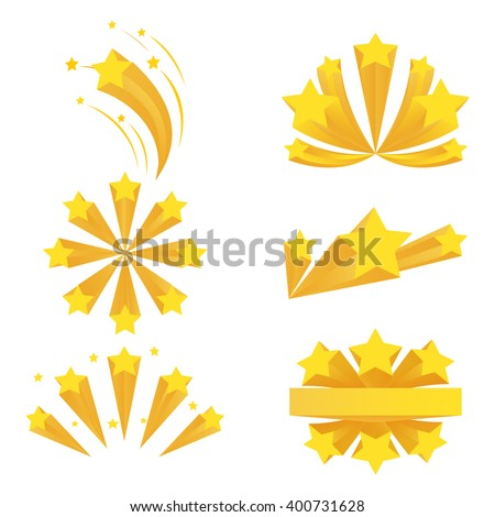 Stars burst elements on white background. Star effect, explosion fireworks, banger flash. Vector illustration