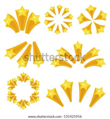 Stars burst icon set cartoon style. Yellow star explosion fireworks, flash isolated on white background. Vector illustration