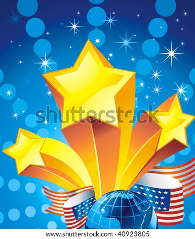 Stars Christmas Vector Background. Shooting star and American flag, Each star its own group