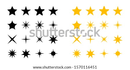 Stars collection. Stars black and yellow color, vector icons, isolated on white background. Stars in modern simple flat style for web design. Vector Illustration