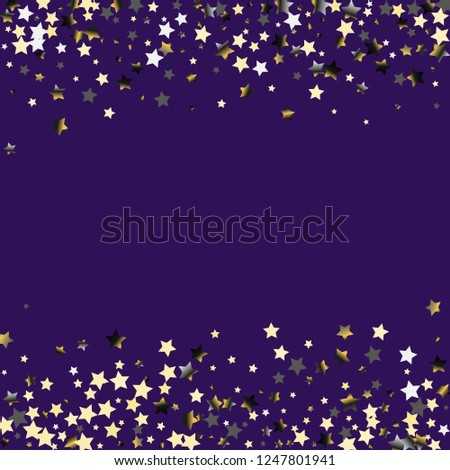 Stars confetti horizontal border. Isolated gradient celestial elements. Platinum chrome metallic gloss. Holiday celebration luminous vector background.