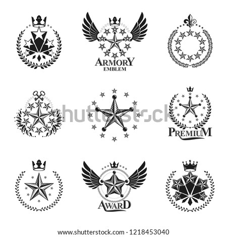 Stars emblems set. Heraldic Coat of Arms decorative logos isolated vector illustrations collection.