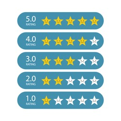 Stars for rating or review. Feedback rate of satisfaction. Level