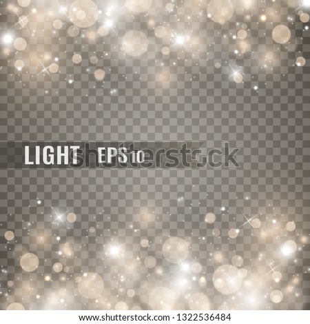 Stars glitter special light effect. Vector sparkles on transparent background. Christmas abstract pattern. Sparkling magic dust particles