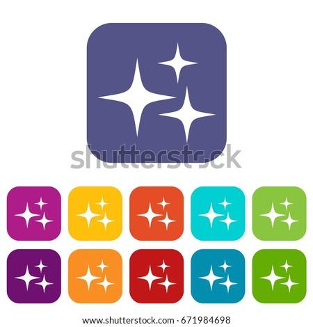 stars icons set vector