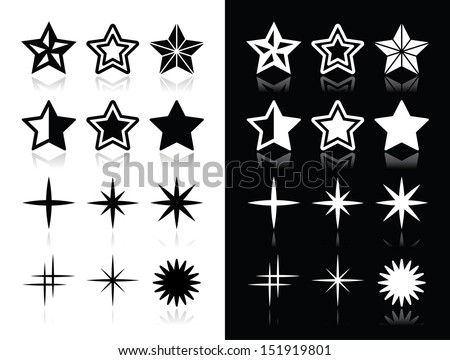 stars icons with shadow on