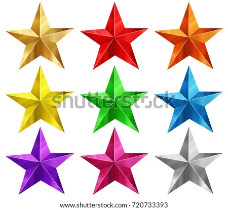 stars in nine different colors
