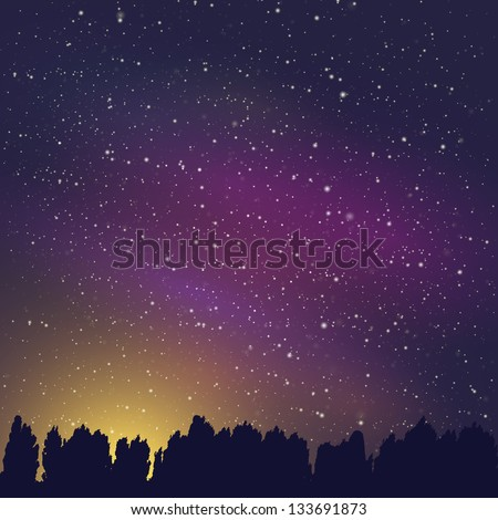 stars in the sky at night over