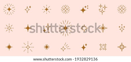 Stars line art icon. Vector four-pointed star for logo, social media stories