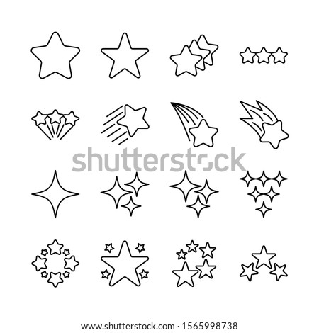stars line icons set vector