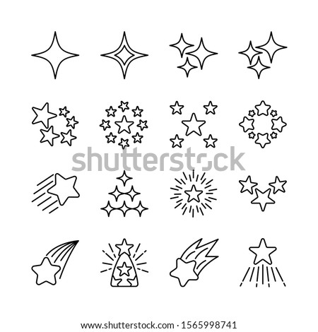 Stars line icons set vector illustration. Falling star, glow, firework, twinkle, starry night, glitter, chirstmas, new year. Pixel perfect. Editable Stroke
