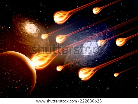 Stars of a planet and galaxy in a free space meteor meteorite fire on dark blue orange background