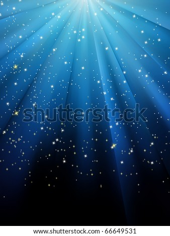Stars on blue striped background. Festive pattern great for winter or christmas themes. EPS 8 vector file included