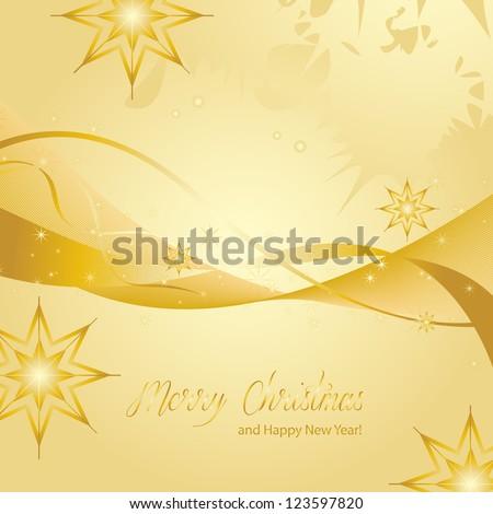 Stars On Golden Background - Vector illustration. Light Golden Abstract Christmas Background With Golden Stars