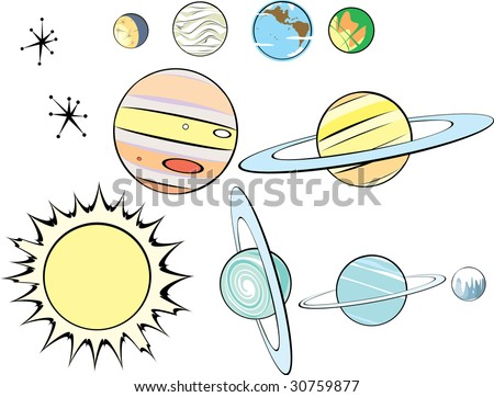 Stars, Plants and Sun in Retro Style to be arranged as you like. - stock vector