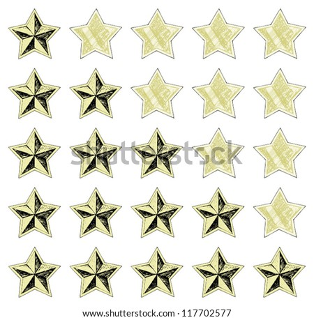 Stars rating. Doodle style